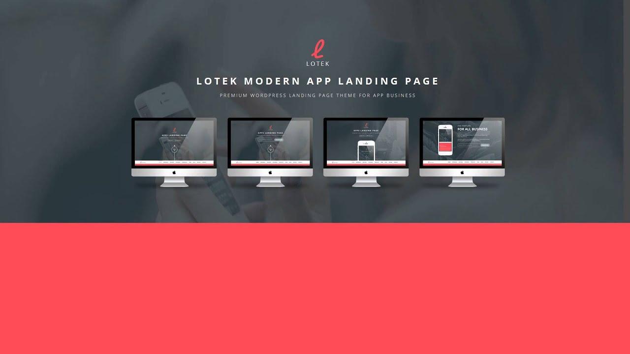 Lotek — Modern App Landing Page Wordpress Theme - YouTube