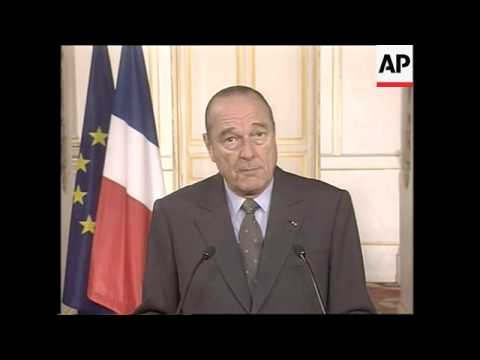 Chirac says he hopes war will not lead to humanitarian disaster