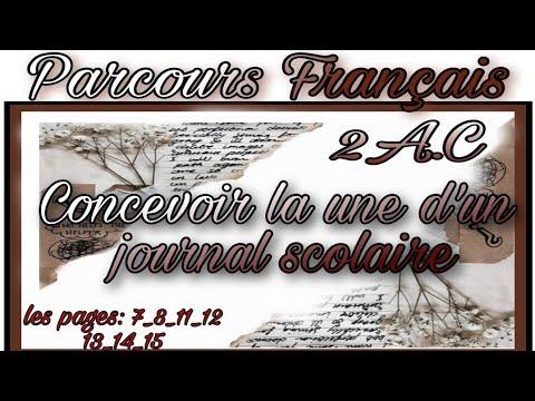 #Français #Parcours #2A.C Concevoir la une d'un journal scol