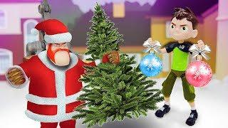 Видео про игрушки из мультфильмов. Бен Тен украшает город на Новый Год!
