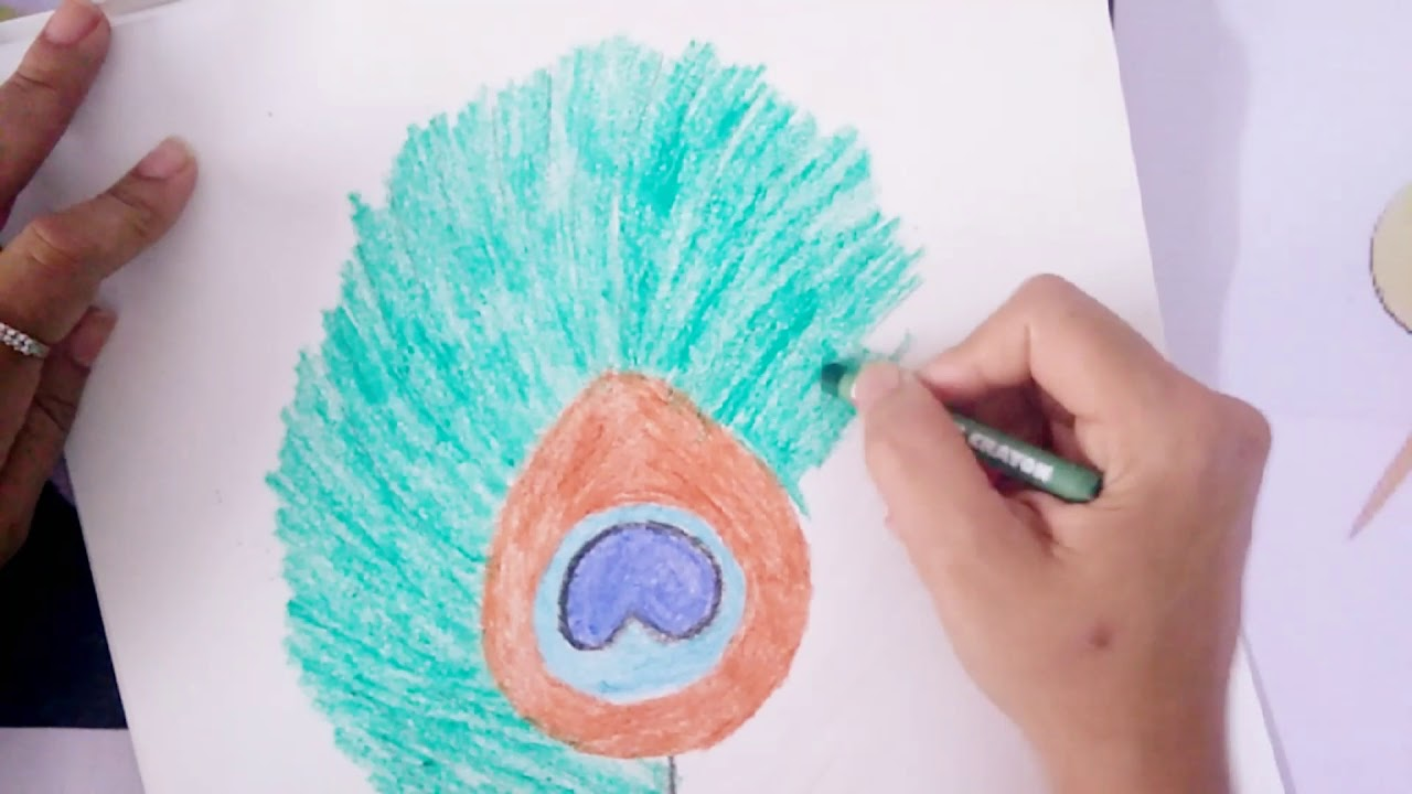 Diy Scratch Painting Peacock Feather Painting Using Toothpick