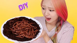 DIY Edible Worms? Eat Wroms!! How To Make Edible Worms  Trick Art Food  Gummy Worms RiaRua