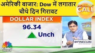 अमेरिकी बाजार: Dow में लगातार चौथे दिन गिरावट | Morning Call | CNBC Awaaz thumbnail