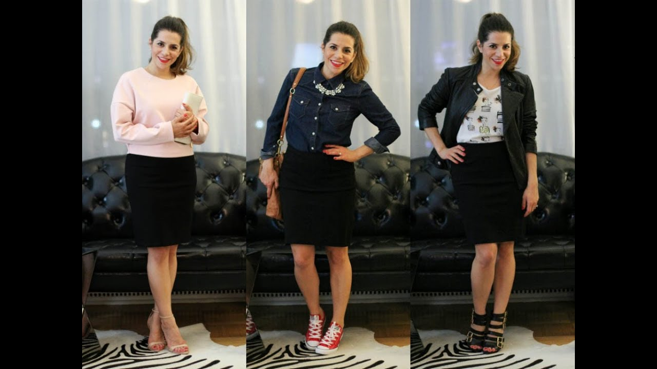 how to wear a black pencil skirt three ways