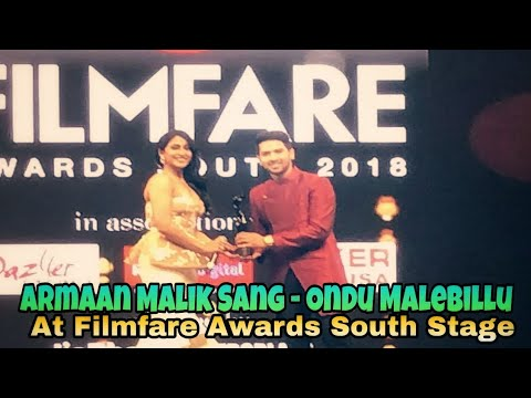 Armaan Malik Singing Ondu Malebillu At Filmfare Awards South - Stage || 2018