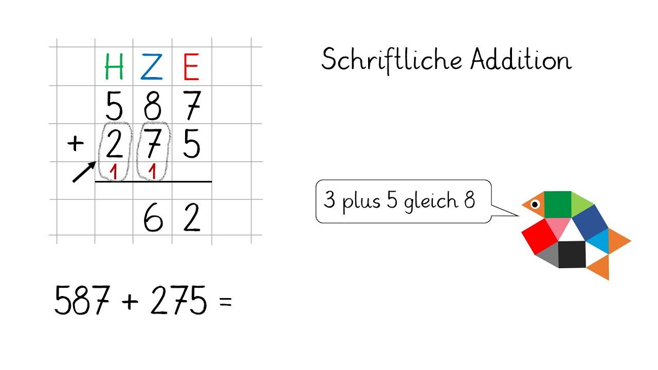 Schriftliche Addition Teil 20 / Mathe lernen in Klasse 20 / einfach schlau  üben