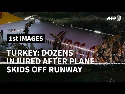 Turkey: plane skids off runway in Istanbul, breaks into three   AFP