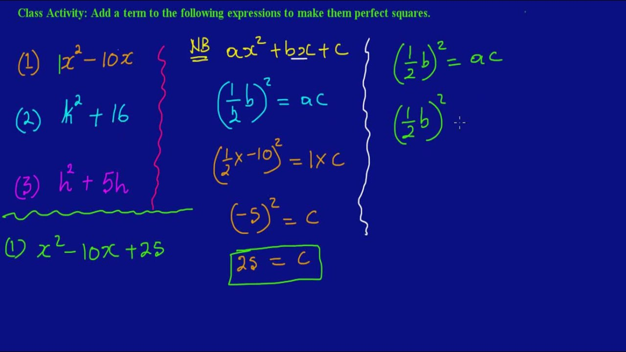 Ex 5:pleting The Square_ Finding The Missing Value