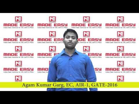 AGAM KUMAR GARG, EC, AIR 1, GATE 2016