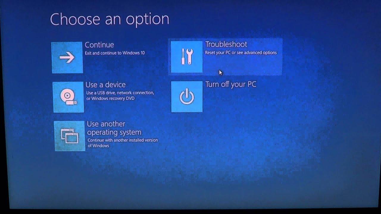 windows 10 factory reset from boot menu