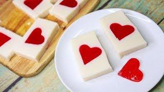 Hidden Heart Jello Pudding | Inside Heart Pudding Dessert | Bread Pudding Recipe | Valentine Treats