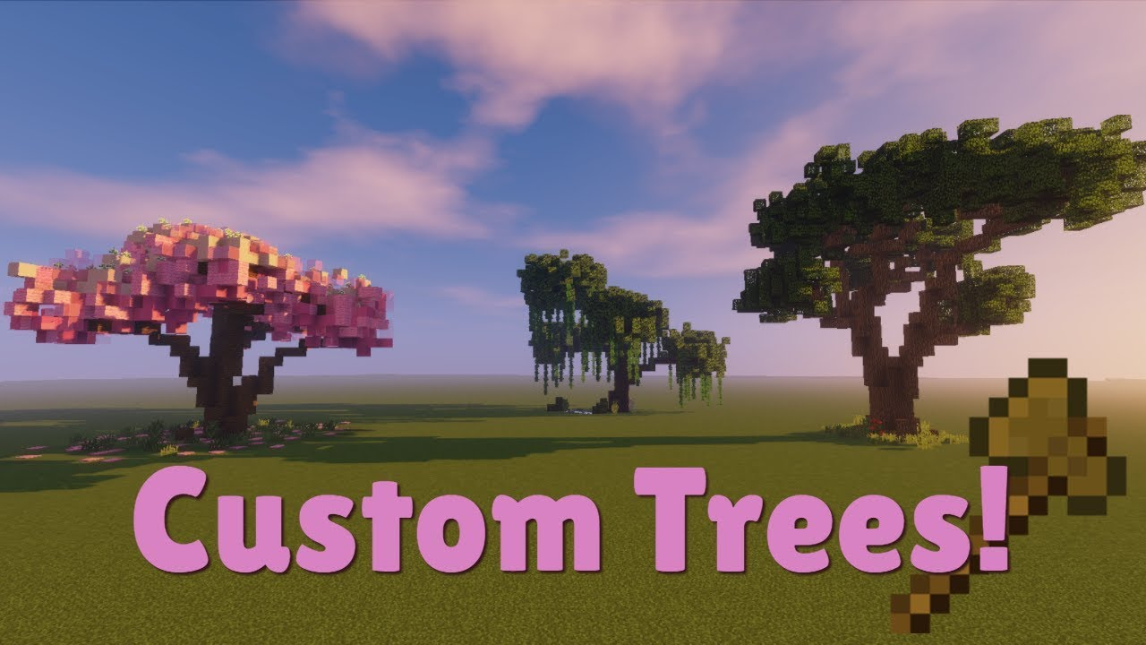 Minecraft Custom Tree tutorial #10  Oak  Willow  Sakura