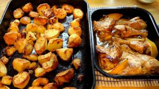 Christmas Roast Chicken & Lemon With Roasted Potatoes Food