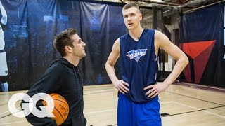 Kristaps Porzingis Gets Interviewed… While Playing 1-on-1 - Athletes   GQ