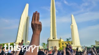 """Prayut, get out,"" demands protestors gathered at Bangkok's Democracy Monument"