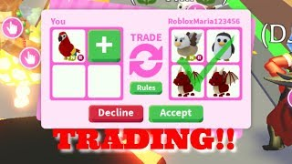 What people trade for ride neon parrot//Roblox adopt me