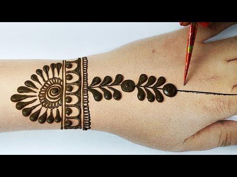 मेहँदी लगाना सीखे - Easy Gol tikki Mehndi Design - BackHand Mehndi Design Step by Step
