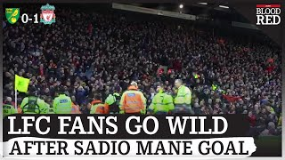 Liverpool fans go WILD  Sadio Mane scores winner against Norwich City