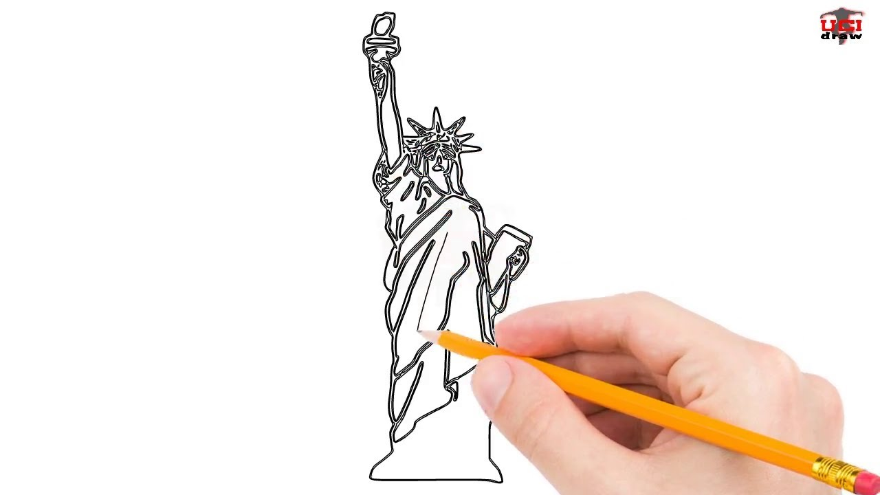 How to draw the statue of liberty easy for beginners kids simple drawing tutorial