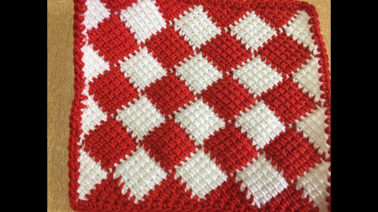 Tuto carr au crochet tunisien sp cial gaucher youtube - Carre crochet pour couverture bebe ...