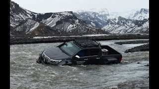 Toyota Hilux Arctic Trucks AT44 and AT38 off-road review on ice and snow Iceland