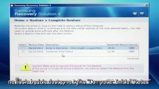 Samsung Recovery Solution 4 - Wykonanie całkowitego przywrócenia systemu