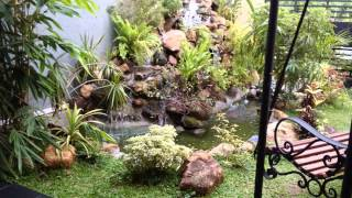 Sri Lanka Natural Waterfall With Wood Bench Landscaping 0719775775