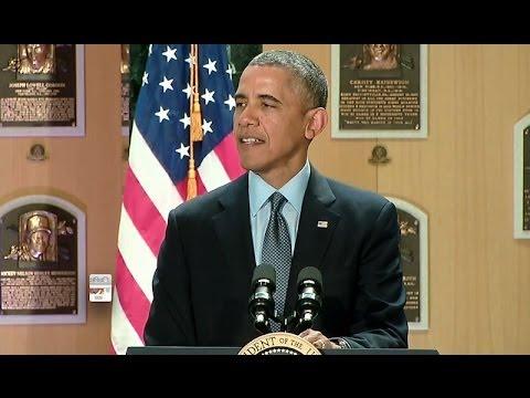 President Obama Speaks at the Baseball Hall of Fame
