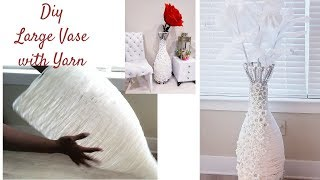 DIY LARGE 2 IN 1 YARN VASE/ FLOOR LAMP INEXPENSIVE DIY IDEAS 2019!!!