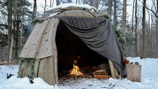 Solo Wigwam Camp with Wool Blanket and Minimal Gear