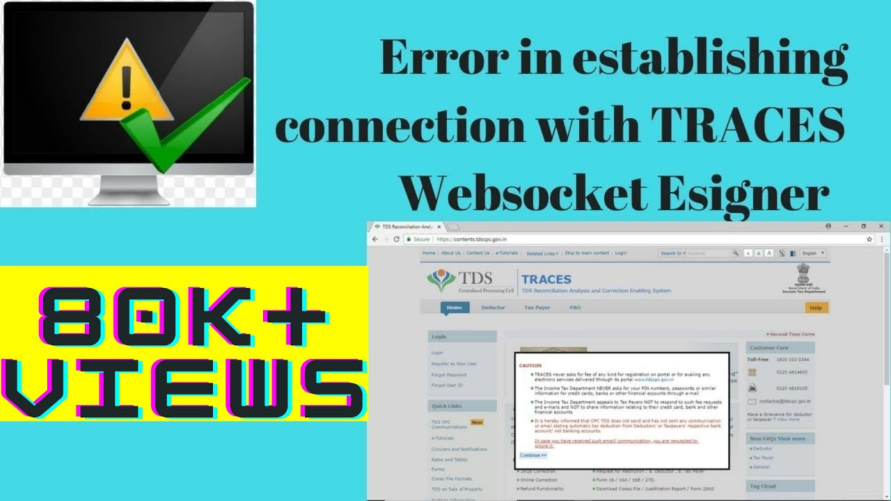 {Solved} Error in establishing connection with TRACES Websocket Esigner (in  Hindi)