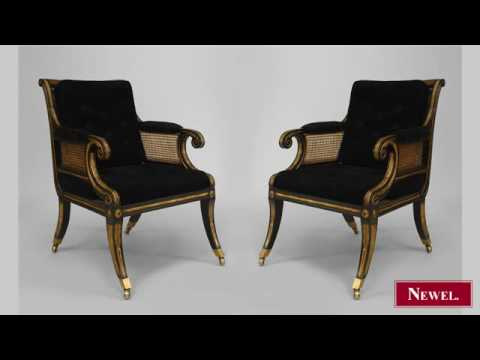 Antique Pair of English Regency style ebonized and gilt