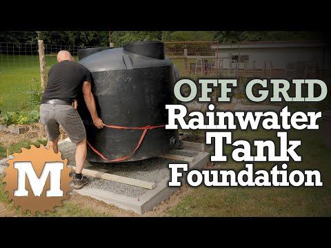 Rainwater Harvesting Tank - poured concrete & gravel foundation [OFF GRID]