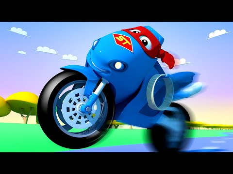 The motorbike truck ! Carl the Super Truck - Car City ! Cars and Trucks Cartoon for kids