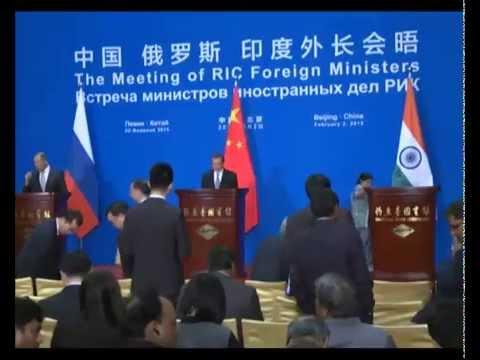 Cовместная пресс-конференция МИД РИК (России, Индии и Китая)