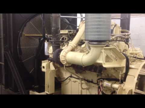 MTU 12V2000 emergency generator at full load & mechanical room tour