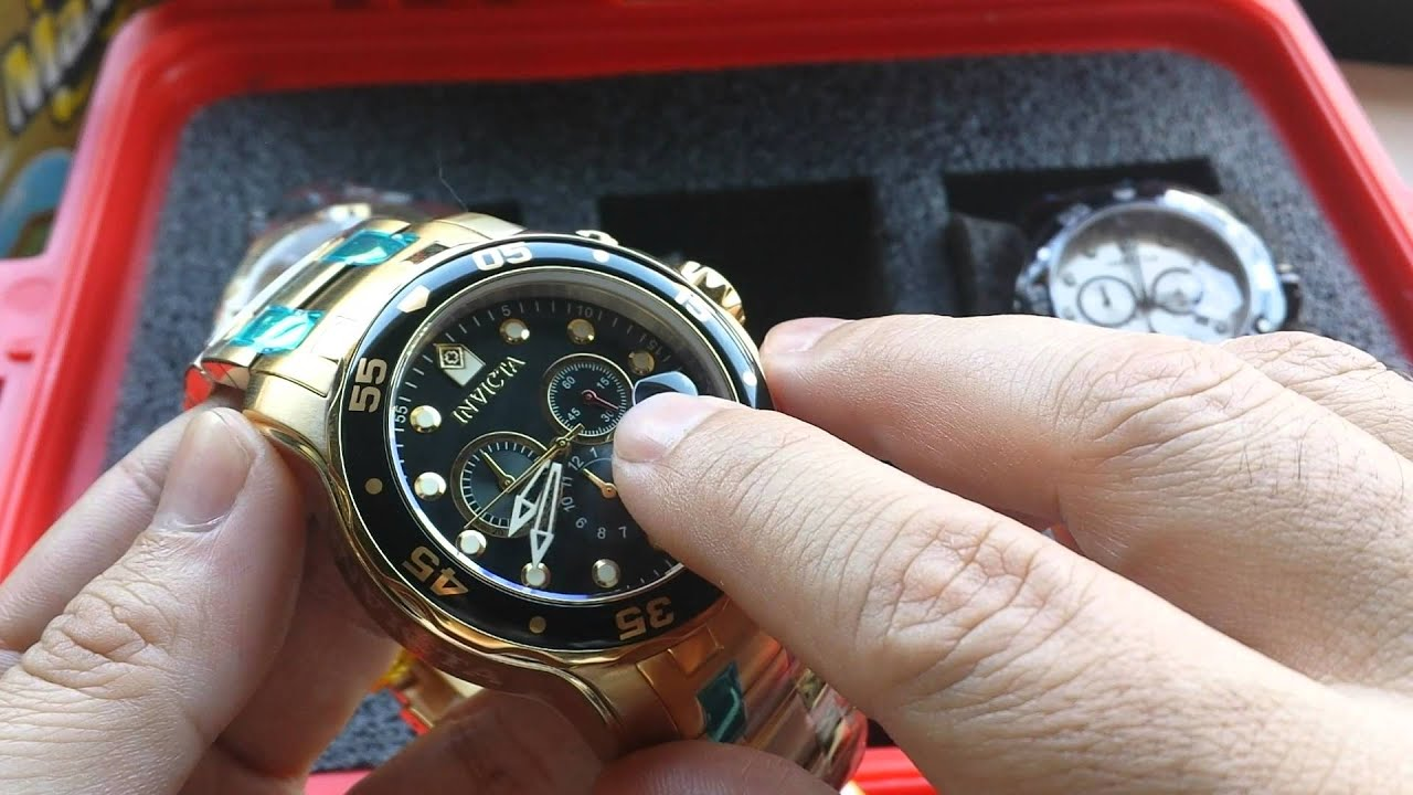 45cc54001ce Relógio Invicta Pro diver 0072 Banhado a Ouro 18KT Cronografo - YouTube