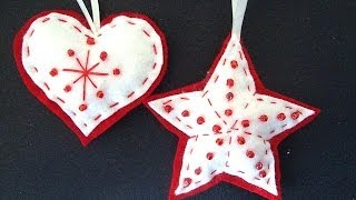 Beaded Felt Star And Heart, Felt Christmas Ornaments, How To Diy