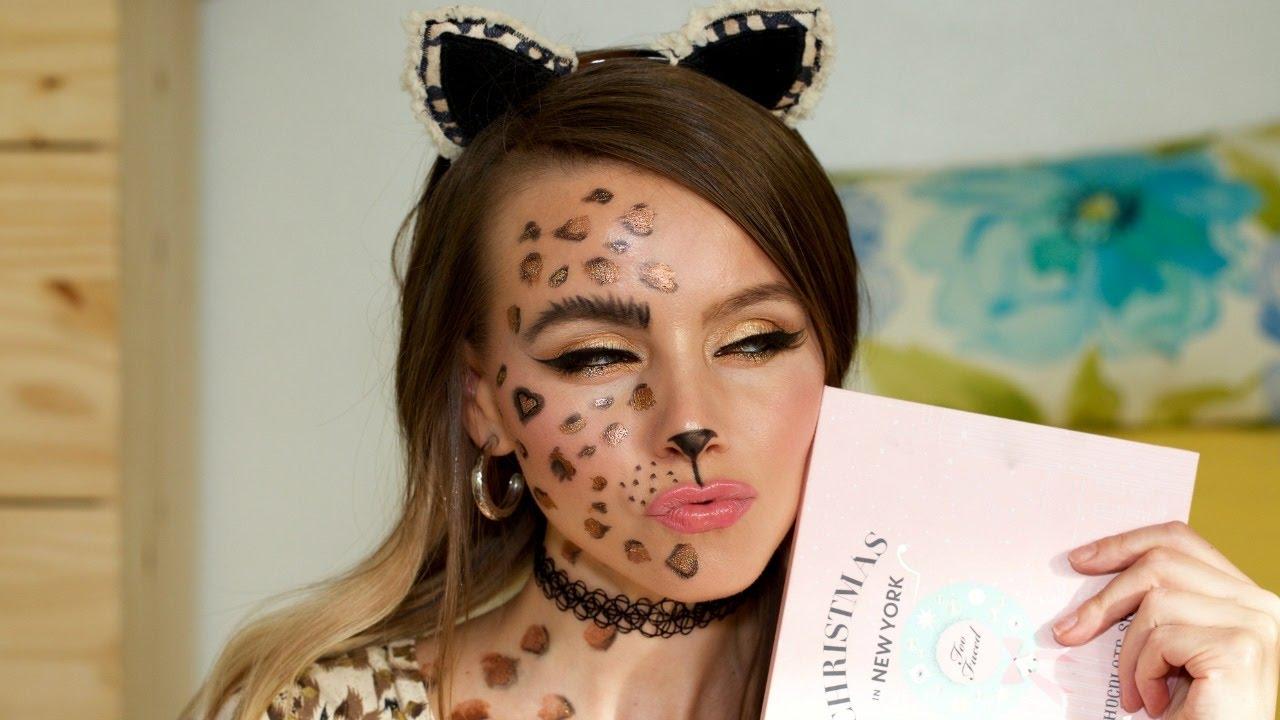Easy Cheetah Makeup Tutorial \\Halloween 2016 - YouTube
