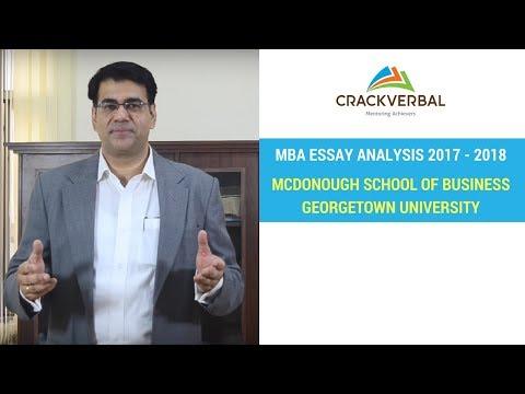 McDonough School of Business, Georgetown University Essay Analysis 2017-2018