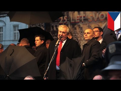 Czech president pelted with eggs by protesters at Velvet Revolution 25th anniversary celebrations