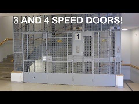 3 and 4 speed doors on KONE/Schindler elevators in Meilahti Hospital in Helsinki Finland