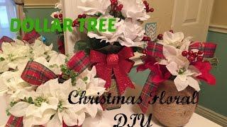 DOLLAR TREE Christmas Floral DIY | PLAID WEEK: Day 5