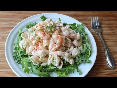 Shrimp pasta shells salad cold macaroni salad with for Prawn and pasta salad recipes