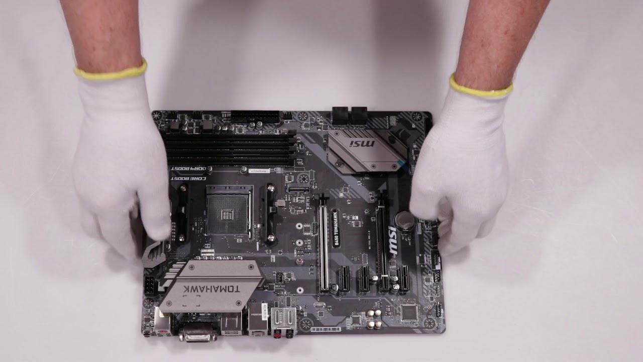 Unboxing MSI B450 TOMAHAWK AM4 4DDR4 HDMI/DVI/USB3 1/M 2 ATX