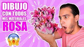 DIBUJO CON TODOS MIS MATERIALES DE COLOR ROSA !! Marcadores, Lapices, Acuarelas, etc | HaroldArtist