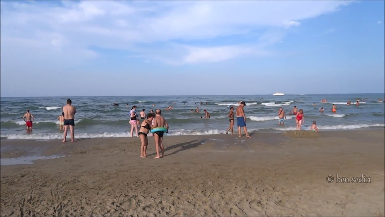 Rimini Italy Beach Cloudy And Windy Day