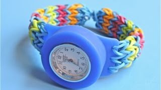 Loomey Time + Monster Tail de Rainbow Loom. Correa modelo Criss-Cross Doble V para el reloj