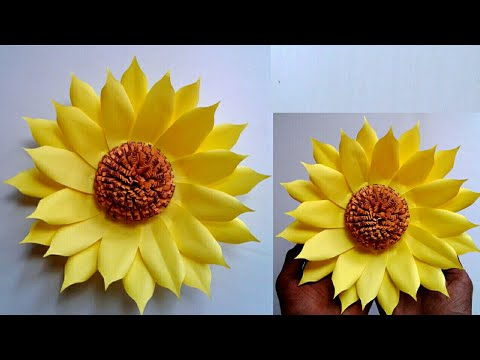 DIY Paper Sunflower   Beautiful paper flower craft    SUNIL CREATION
