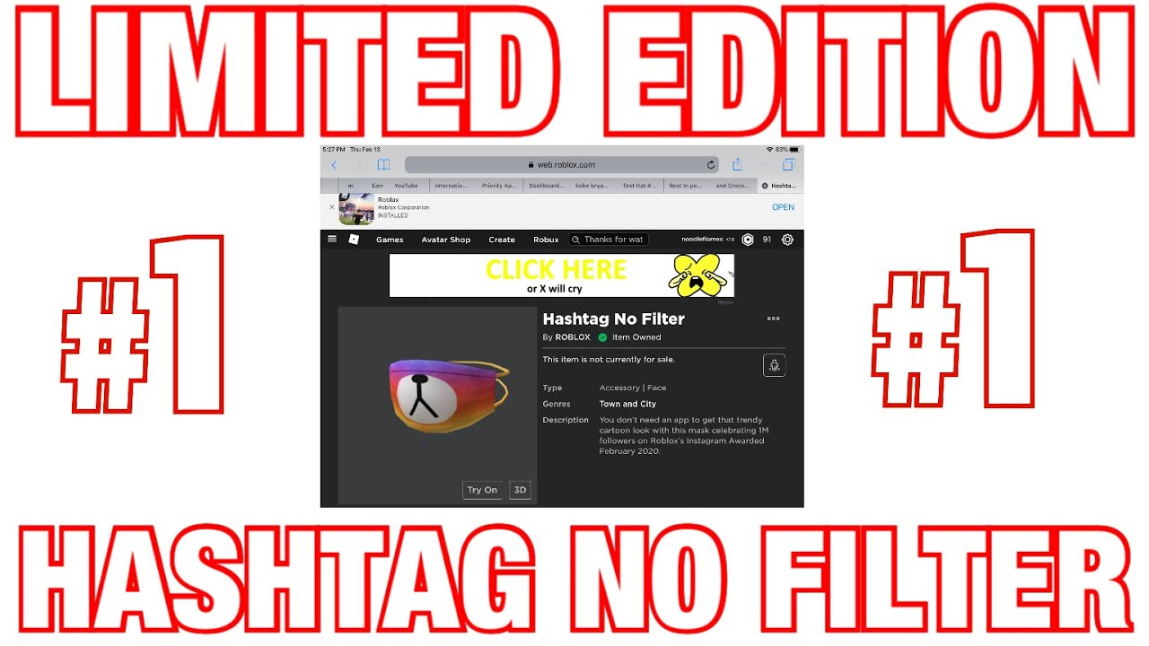 New Limited Edition Hashtag No Filter Bear Mask Roblox Youtube